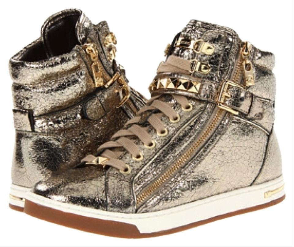 7356adf4b2f58 Michael Kors Glam Studded Metallic Leather High Top Sneakers Sporty Casual  Zipper Laced Up Logo Mk ...