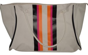 Other Workout Yoga Mat Exercise Gym Large Beach Tote in Cream w/black/orange/pink stripes