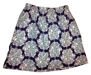 Lilly Pulitzer Michelina Mini Rare Designer Pleated Seashell Beach Elastic Waistband Mini Skirt Blue