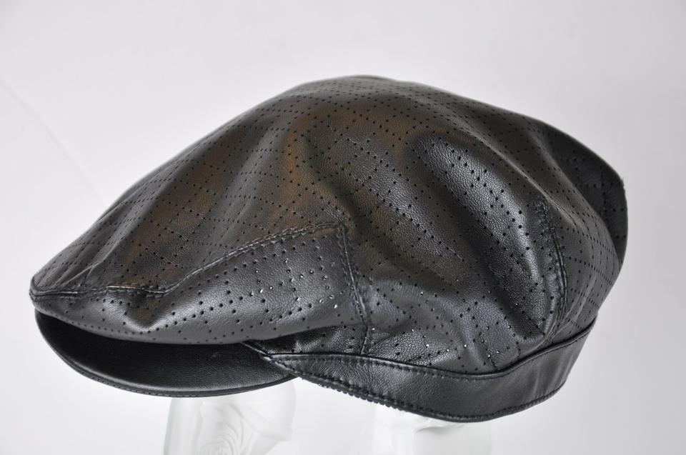 c07afd8b0c2 Gucci Black Perforated Leather Cap Beret Size M Hat - Tradesy