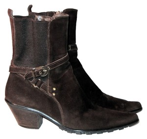 Aquatalia by Marvin K. Ankle Strap Side Zip Brown Boots