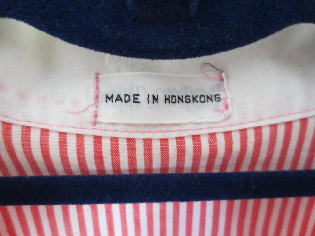 Other Hong Kong Pinstripe Striped Chest Pocket Retro Button Down Shirt Red and white