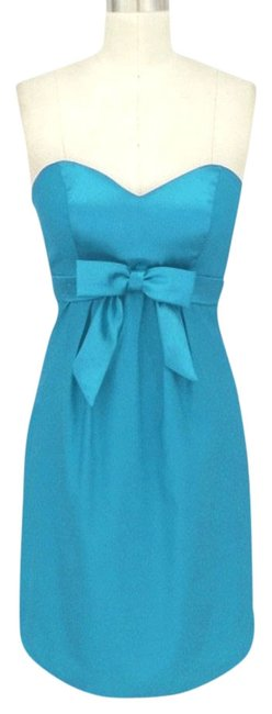 Preload https://item4.tradesy.com/images/blue-satin-sweetheart-bow-formal-knee-length-cocktail-dress-size-12-l-790728-0-0.jpg?width=400&height=650