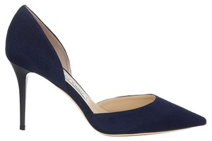 Jimmy Choo - Addison Sue Pointy - Size 38.5 Navy Suede Pumps