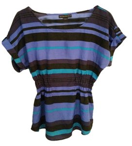 Attention Rolled Sleeves Ruched Waist Top Purple, Green, and Black Striped