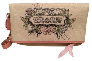 Coach Tattoo Foldover Canvas Patent Pink Clutch