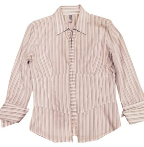 Laundry by Shelli Segal Seaga; ; Button Down Shirt White With Pin Stripes Button Down Shirt