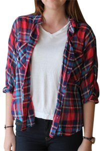 Urban Outfitters Button Down Shirt Red, White & Blue Plaid