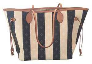 Louis Vuitton Limited Edition Rayures Neverfull Mm Monogrma Tote in Rayures: Monogram/White/Brown/Striped