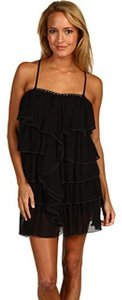 Black Rooster Beaded Ruffled Dress