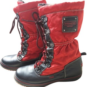 Coach Black Red Boots