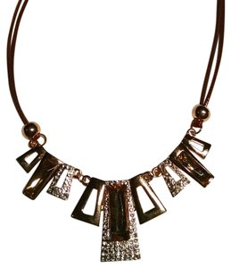 New Gold Brown Square BIb Necklace Crystals J1427