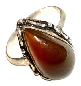 Other Agate Gemstone Ring 925 Silver Plated Size 8.5 J1430