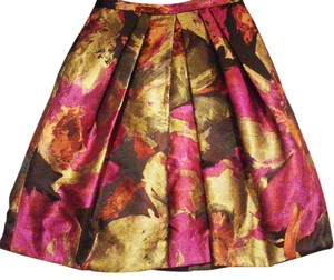 Carmen Marc Valvo Couture Party Holiday Skirt Gold, Violet and Burnt Orange