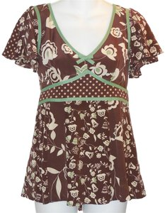 Nanette Lepore Silk Polka Dot Top Brown