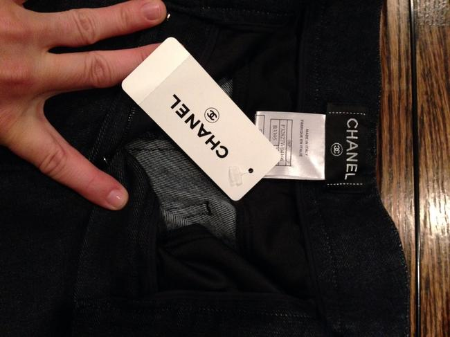 Chanel Jeans Designer New Straight Pants Dark Blue With Black Silk
