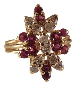 Modern Vintage 14k Gold 54ct diamond Pink Topaz Ring