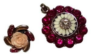 New Snap Button Pendant Extra Charm Pink Crystals Silver Tone J1433