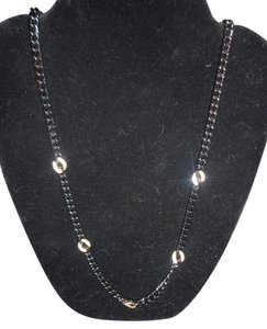 Stella & Dot Stella & Dot Hematite Link Chain Necklace With Gold Plated Pave Crystal Stations - 32