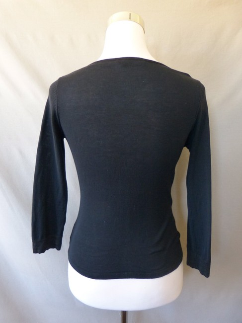 Piazza Sempione 3/4 Sleeve V Neck Italian Top Black