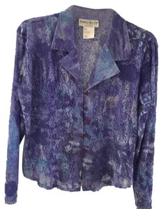 City Girl by Nancy Bolen Top Multi-Color Blue