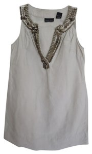New York & Company Beaded & Co & Beige Taupe Sleeveless V-neck Linen Tunic