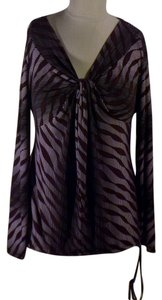 Worthington Sexy Vintage Silky Top Purple & Black Tiger Stripes