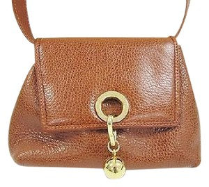 Charles Jourdan Crossbody Handbag Camel Pebbled Leather Shoulder Bag