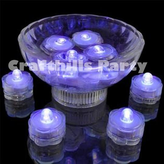 Purple 24 Pcs Led Submersible Waterproof Floral Centerpiece Party Decoration Tea Candle Vase Light