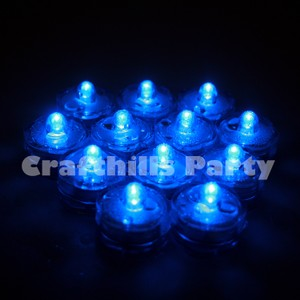 24 Pcs Led Blue Submersible Waterproof Wedding Floral Centerpiece Party Decoration Tea Candle Vase Light