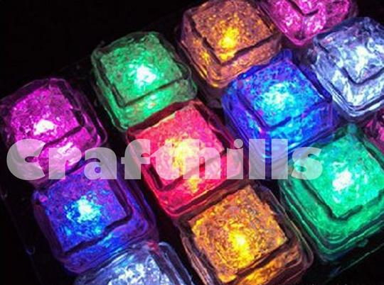 Rgb Multi Color 24 Pcs Changing Led Ice Floating Waterproof Floral Tea Vase Centerpiece Light Up For Party Reception Decoration