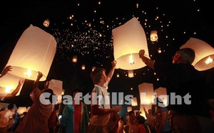 50 Pcs Of White Sky Kongming Flying Wishing Paper Lanterns For Wedding