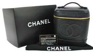 Chanel Auth CHANEL CC Cosmetic Vanity Hand Bag Black Caviar Skin Leather VTG France
