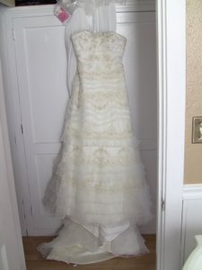 Oleg Cassini Strapless Lace And Tulle Slim Gown Style Cwg352 Wedding Dress
