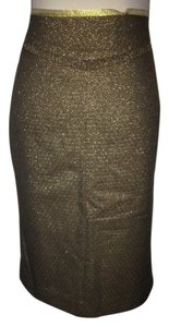 Club Monaco Goldish Green Brown Career Night Out Date Night Business Meeting Skirt Green Gold