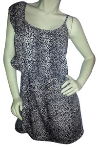 envy me short dress black on ivory animal print on Tradesy