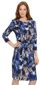 BCBGMAXAZRIA Dominique Ikat Print Drop Waist Ruffle Dress