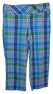 No Boundaries No Junior 5 Capris Green and Blue Plaid