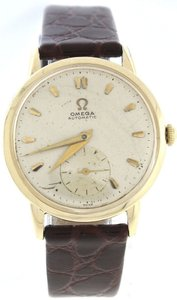 Omega Men's Vintage Omega Gold-Filled Silver Stick Dial Brown Lizard Leather Automatic