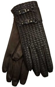 Hilts-Willard Bottega Veneta-style Woven Lambskin Gloves, Brown, Large