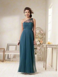 Alfred Angelo Dark Teal Polyester 8615l Drp 958915 Pacific 8 Traditional Bridesmaid/Mob Dress Size 6 (S)