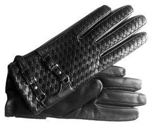 Hilts-Willard Hilts-Willard Ladies' Woven Lambskin Gloves, Black, S