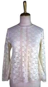 Lisa Nieves Lace Lace Trim Longsleeve Casual Stretchy Top Light Cream