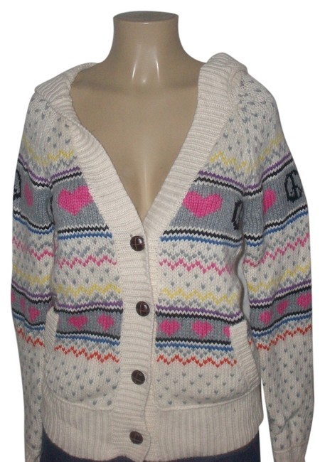 Item - Ivory Pink Brand Fair Aisle Chunky Knitted Button Down Hooded Cardigan Size 6 (S)