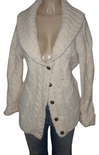 Item - Winter White Pink Brand Chunky Knitted Button Down Collared Cardigan Size 6 (S)