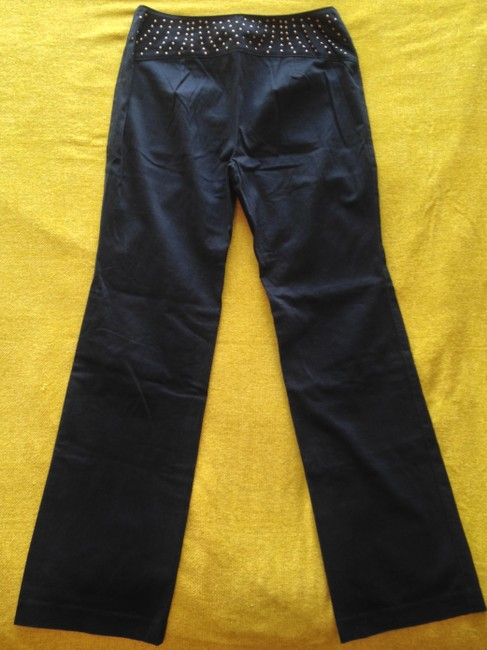 Express Stretchy Studded Metallic Hardware Soft Italian High Waist Natural Leg Biker Sexy Retro 1990s Straight Pants Black