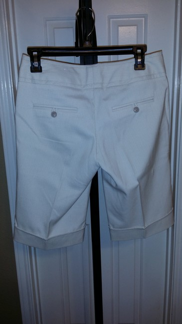 Maurices 1/2 Bermuda Shorts White with Brown Pinstripe