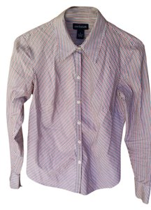 Ann Taylor Button Down Button Down Shirt Red, White, Blue, Gray Stripe