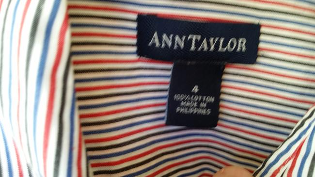 Ann Taylor Button Down Shirt Red, White, Blue, Gray Stripe