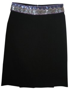 XOXO Nwt Stretchy Wrap-around Sequin Zig Zag Chevron Beaded High Waist Natural Waist Skirt Black
